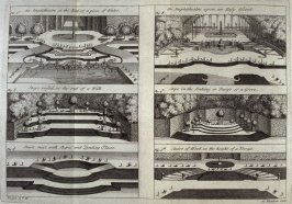 The Amphitheatre at the End of a Piece of Water (plus two details, The Amphitheatre Upon an Easy Ascent (plus two details), plate 3H following page 148 in the book, The Theory and Practice of Gardening by Alexandre Le Blond, 2nd English ed. tr. by John Ja