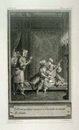 86 engravings from one set: Elle mit quelques moments a l'accorder et ensuite ell chanta.