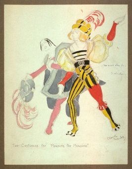 "Costume Sketch of Two Gentlemen for Shakespeare's ""Measure for Measure"""