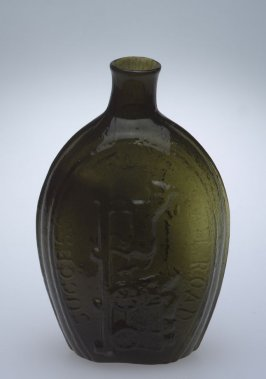"""Flask olive green, inscribed """"Success to the Railroad"""""""