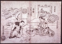 Shakuhachi Splitting a Flute for Firewood (Shakuhachi hachinoki), a parody of the noh play Hachinoku, from an untitled series of parodies of historical and literary subjects