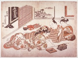 Young Man Relaxing with a Courtesan and a Male Lover, frontispiece from the shunga album Models of the Boudoir (Neya-no-hinagata)