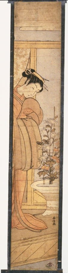 Woman Viewing Chrysanthemums