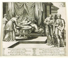 Indi a poco leuata, & riuestita . . .(Other Nymphs Serving Psyche at the Table) , pl. 8, from the Series: The History of Psyche