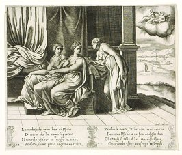 L' inuidiose del gran ben di Psiche . . . (Psyche's Sisters Persuade Her That a Serpent is Sleeping with Her), pl. 12, from the Series: The History of Psyche