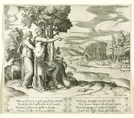 Oltra quel fiume, à quel gran bosco ombroso . . . (Psyche Going to Seek the Golden Wool) , pl. 23, from the Series: The History of Psyche