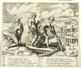 Et ben prouista passa l' asinaro . . . (Psyche Embarks in Charon's Boat), pl. 25, from the Series: The History of Psyche