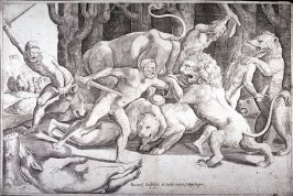Five Men Fighting Beasts, after Giulio Romano