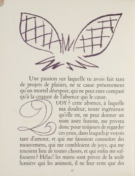Untitled, ornament/letter, pg. 16, in the book Lettres (Lettres Portugaises) by Marianna Alcaforado (Paris: Tériade Éditeur, 1946)