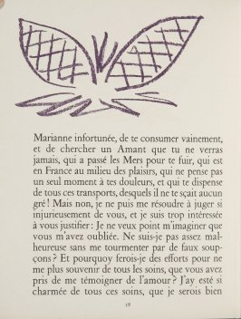 Untitled, ornament, pg. 18, in the book Lettres (Lettres Portugaises) by Marianna Alcaforado (Paris: Tériade Éditeur, 1946)