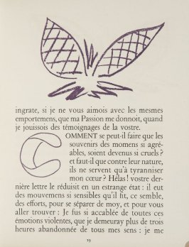 Untitled, ornament/letter, pg. 19, in the book Lettres (Lettres Portugaises) by Marianna Alcaforado (Paris: Tériade Éditeur, 1946)