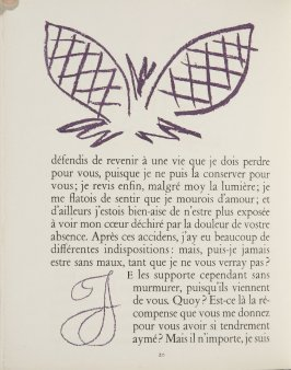 Untitled, ornament/letter, pg. 20, in the book Lettres (Lettres Portugaises) by Marianna Alcaforado (Paris: Tériade Éditeur, 1946)