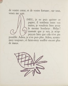 Untitled, ornament/letter, pg. 24, in the book Lettres (Lettres Portugaises) by Marianna Alcaforado (Paris: Tériade Éditeur, 1946)