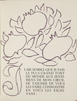 Untitled, ornament/letter, pg. 29, in the book Lettres (Lettres Portugaises) by Marianna Alcaforado (Paris: Tériade Éditeur, 1946)