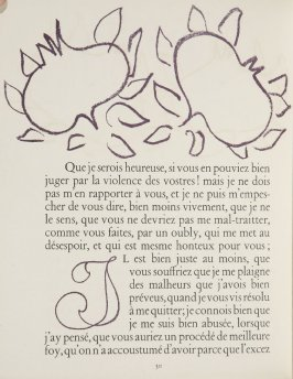 Untitled, ornament/letter, pg. 30, in the book Lettres (Lettres Portugaises) by Marianna Alcaforado (Paris: Tériade Éditeur, 1946)