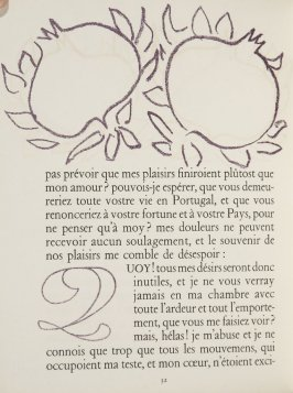 Untitled, ornament/letter, pg. 32, in the book Lettres (Lettres Portugaises) by Marianna Alcaforado (Paris: Tériade Éditeur, 1946)