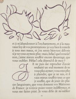Untitled, ornament/letter, pg. 34, in the book Lettres (Lettres Portugaises) by Marianna Alcaforado (Paris: Tériade Éditeur, 1946)