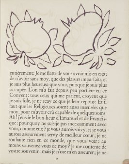 Untitled, ornament, pg. 35, in the book Lettres (Lettres Portugaises) by Marianna Alcaforado (Paris: Tériade Éditeur, 1946)