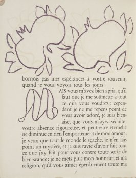 Untitled, ornament/letter, pg. 36, in the book Lettres (Lettres Portugaises) by Marianna Alcaforado (Paris: Tériade Éditeur, 1946)