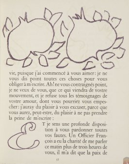Untitled, ornament/letter, pg. 37, in the book Lettres (Lettres Portugaises) by Marianna Alcaforado (Paris: Tériade Éditeur, 1946)