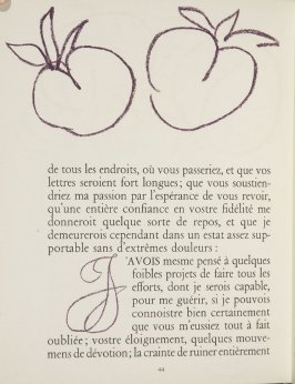 Untitled, ornament/letter, pg. 44, in the book Lettres (Lettres Portugaises) by Marianna Alcaforado (Paris: Tériade Éditeur, 1946)