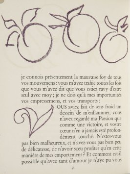Untitled, ornament/letter, pg. 46, in the book Lettres (Lettres Portugaises) by Marianna Alcaforado (Paris: Tériade Éditeur, 1946)