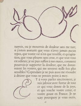 Untitled, ornament/letters, pg. 48, in the book Lettres (Lettres Portugaises) by Marianna Alcaforado (Paris: Tériade Éditeur, 1946)