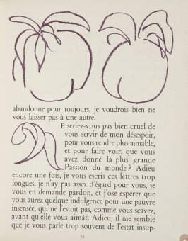 Untitled, ornament/letter, pg. 53, in the book Lettres (Lettres Portugaises) by Marianna Alcaforado (Paris: Tériade Éditeur, 1946)