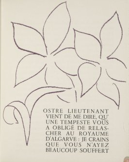 Untitled, ornament/letter, pg. 59, in the book Lettres (Lettres Portugaises) by Marianna Alcaforado (Paris: Tériade Éditeur, 1946)