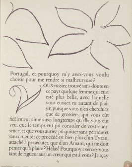 Untitled, ornament/letter, pg. 65, in the book Lettres (Lettres Portugaises) by Marianna Alcaforado (Paris: Tériade Éditeur, 1946)