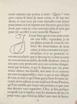 Untitled, letter, pg. 69, in the book Lettres (Lettres Portugaises) by Marianna Alcaforado (Paris: Tériade Éditeur, 1946)