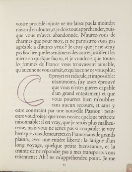 Untitled, letter, pg. 75, in the book Lettres (Lettres Portugaises) by Marianna Alcaforado (Paris: Tériade Éditeur, 1946)