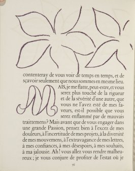 Untitled, ornament/letter, pg. 76, in the book Lettres (Lettres Portugaises) by Marianna Alcaforado (Paris: Tériade Éditeur, 1946)
