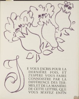 Untitled, ornament/letter, pg. 87, in the book Lettres (Lettres Portugaises) by Marianna Alcaforado (Paris: Tériade Éditeur, 1946)
