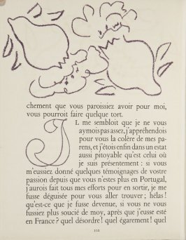 Untitled, ornament/letter, pg. 102, in the book Lettres (Lettres Portugaises) by Marianna Alcaforado (Paris: Tériade Éditeur, 1946)