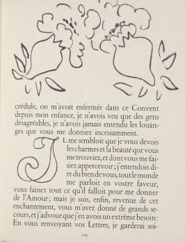 Untitled, ornament/letter, pg. 109, in the book Lettres (Lettres Portugaises) by Marianna Alcaforado (Paris: Tériade Éditeur, 1946)