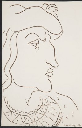 Untitled (portrait ) on unnumbered page, first image of two on second folded sheet in the unbound book Poèmes de Charles d'Orléans (Paris: Tériade éditeur, 1950)