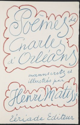 Title page, second image of two on second folded sheet in the unbound book Poèmes de Charles d'Orléans (Paris: Tériade éditeur, 1950)