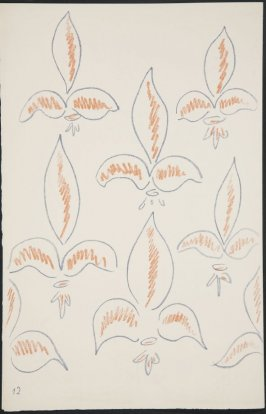 Untitled (fleur de lys variation)on page 12, fourth image of four on third folded sheet in the unbound book Poèmes de Charles d'Orléans (Paris: Tériade éditeur, 1950)