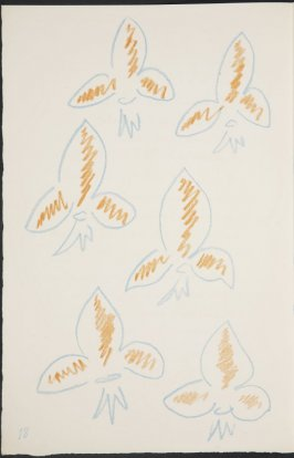 Untitled (fleur de lys variation) on page 18, second image of four on fifth folded sheet in the unbound book Poèmes de Charles d'Orléans (Paris: Tériade éditeur, 1950)