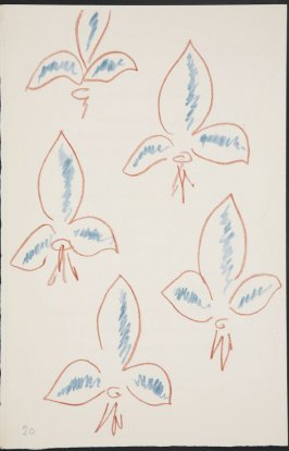 Untitled (fleur de lys variation)on page 20, fourth image of four on fifth folded sheet in the unbound book Poèmes de Charles d'Orléans (Paris: Tériade éditeur, 1950)
