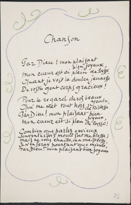 Chanson/ Par Dieu! mon plaisant bien joyeux,...on page 25,first image of four on seventh folded sheet in the unbound book Poèmes de Charles d'Orléans (Paris: Tériade éditeur, 1950)