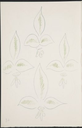 Untitled (fleur de lys variation) on page 34, second image of four on ninth folded sheet in the unbound book Poèmes de Charles d'Orléans (Paris: Tériade éditeur, 1950)