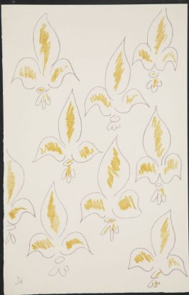 Untitled (fleur de lys variation) on page 36, fourth image of four on ninth folded sheet in the unbound book Poèmes de Charles d'Orléans (Paris: Tériade éditeur, 1950)
