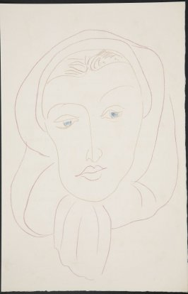 Untitled (woman's head) on unnumbered page 37, first image of four on tenth folded sheet in the unbound book Poèmes de Charles d'Orléans (Paris: Tériade éditeur, 1950)