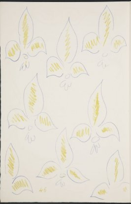 Untitled (fleur de lys variation). on page 46, second image of four on twelfth folded sheet in the unbound book Poèmes de Charles d'Orléans (Paris: Tériade éditeur, 1950)