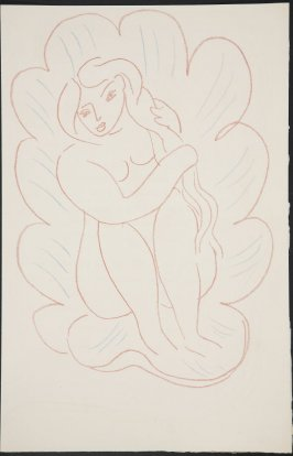 Untitled (seated woman) on unnumbered page 53, first image of four on fourteenth folded sheet in the unbound book Poèmes de Charles d'Orléans (Paris: Tériade éditeur, 1950)