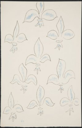 Untitled (fleur de lys variation) on page 60, fourth image of four on fifteenth folded sheet in the unbound book Poèmes de Charles d'Orléans (Paris: Tériade éditeur, 1950)