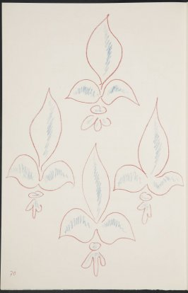 Untitled (fleur de lys variation) on page 70, second image of four on eighteenth folded sheet in the unbound book Poèmes de Charles d'Orléans (Paris: Tériade éditeur, 1950)
