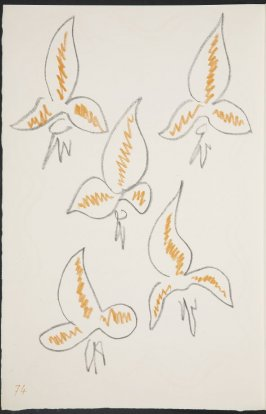 Untitled (fleur de lys variation) on page 74, second image of four on nineteenth folded sheet in the unbound book Poèmes de Charles d'Orléans (Paris: Tériade éditeur, 1950)